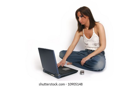 girl with laptop and cellphone