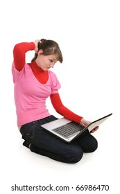The girl with the laptop on a white background