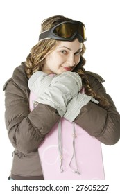 Girl leaning on snowboard photo over white background