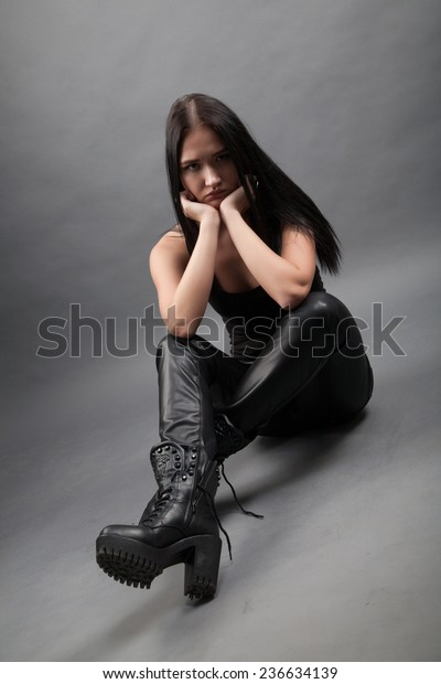latest discount in stock uk cheap sale Girl Leather Pants Boots Stock Image   Download Now