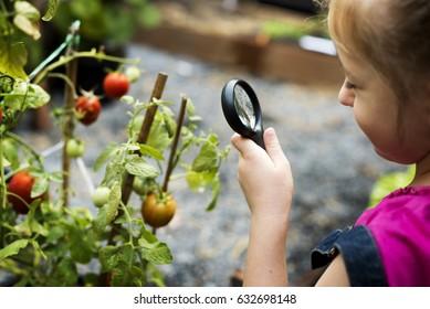 Girl is leisure in the garden