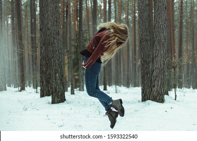 girl levitating in the forest