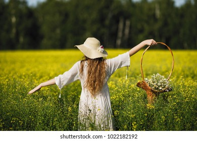 A girl in a light dress and a straw hat walks along the yellow flower field and carries a basket of flowers in her hands