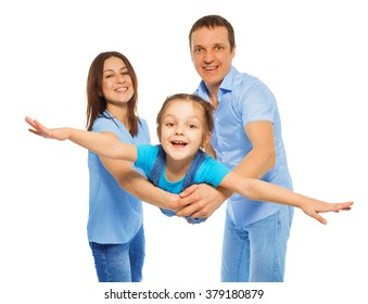 Girl like little plane flying from parents hands