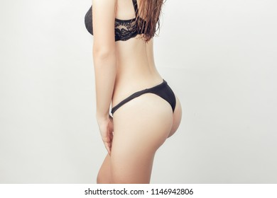 girl in lingerie on a white background