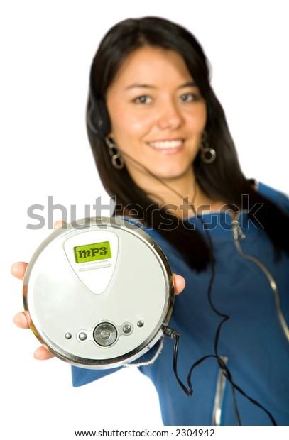 Girl Listening Mp3 Music Over White Stock Photo (Edit Now