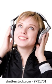 a girl listening to the music