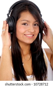 girl listening to music looking happy isolated over white
