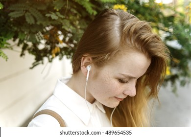 Girl Listening Music Radio Concept