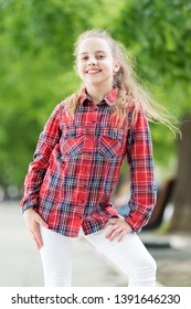 Girl little cute child enjoy walk on windy day nature background. Feeling cozy and comfortable on windy day. Deal with long hair on windy day. Hairstyles to wear on windy days. Windproof hairstyles.