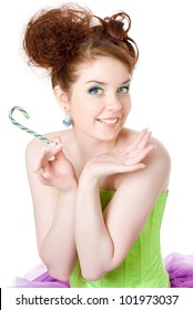 Girl with a lollipop in his hand, white background