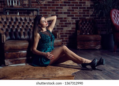 Girl with long hair in a dress