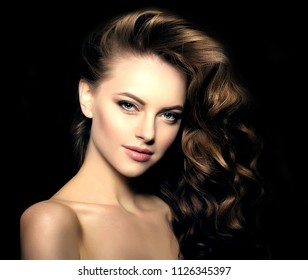 Girl with Long hair on a black background. Updo Waves Curls Hairstyle in Salon. Fashion model, Woman with shiny healthy haircut. Hair loss