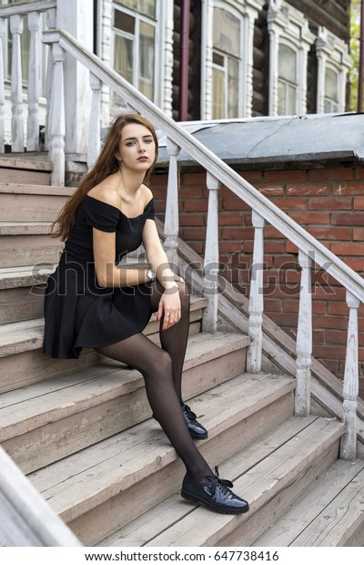 Girl Long Hair On Stairs Old Stock Photo Edit Now 647738416