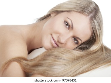 Girl with long hair on white background