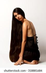 girl with long hair. shot in studio