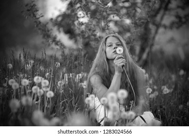 Girl with long hair in a white sundress blowing on a dandelion
