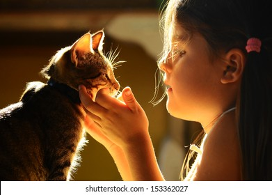 girl looking at the cat