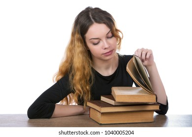 girl looking into the book on a white background