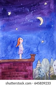 Girl looking at the stars, the night landscape, the girl on the roof, Watercolor illustration