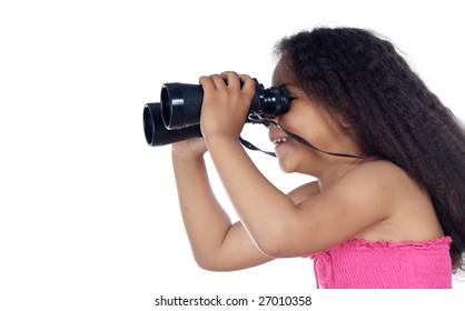 Girl looking through the binoculars a over white background