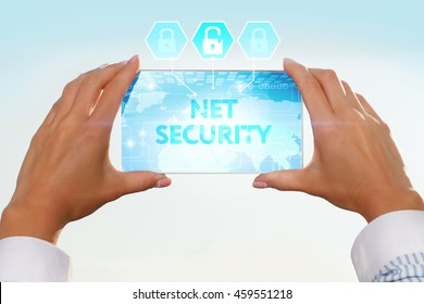 The girl looks at a virtual screen of your smartphone. Text net security.