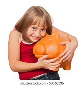 Girl loving her big fat piggy bank full with money