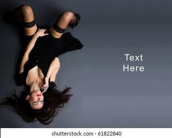 a girl lying on the floor