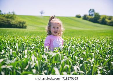 Girl in maize field