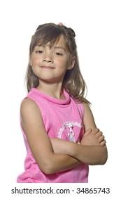 A girl makes a confident pose.