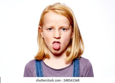 Girl makes grimace