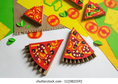 Girl Makes Paper Crafts Pizza Childs Stock Photo (Edit Now
