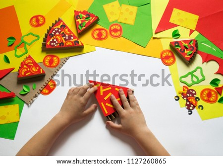 Girl Makes Paper Crafts Pizza Childs Stock Photo Edit Now