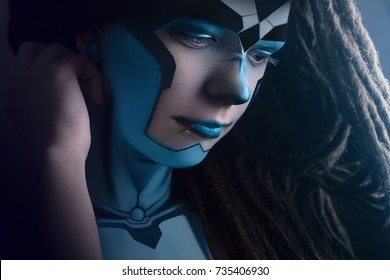 Girl in makeup, fashion sci-fi art style. makeup for robot cyborg technology