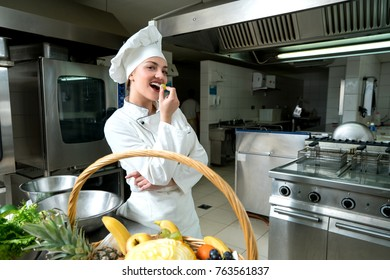Girl making fruit salad bar
