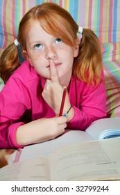 Girl is making homework