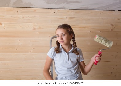girl making new apartment repair