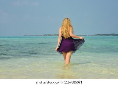 Girl in Maldives