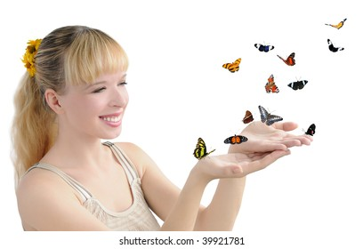 girl with many butterflies
