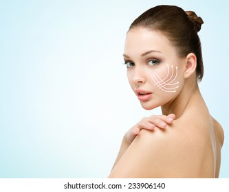 Girl with markings mesotherapy zones. Concept of beauty and perfect skin