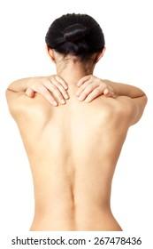 girl massaging sore neck and back
