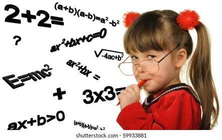 The girl and mathematical formulas. It is isolated on a white background