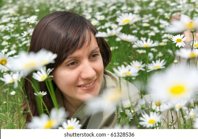 Girl in meadow. Nature composition.