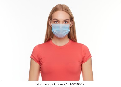 Girl in a medical mask protecting from viruses and air pollution, isolated on white background