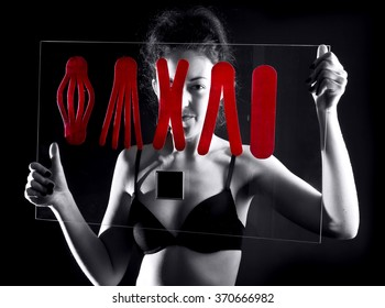 girl with  medical taping on glass board