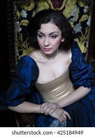 Girl in medieval historic dress