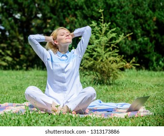 Girl meditate on rug green grass meadow nature background. Woman relaxing practicing meditation. Every day meditation. Reasons you should meditate every day. Clear your mind. Find minute to relax.