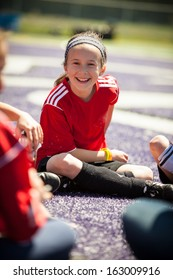 Girl in a meeting at a soccer practice