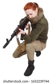 girl mercenary with assault rifle isolated on white background
