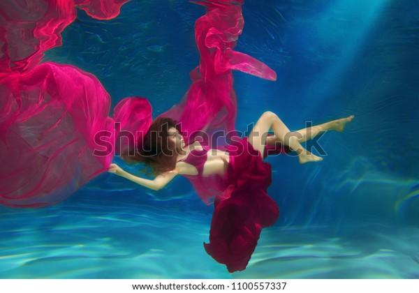 Girl Mermaid Underwater Scene Woman Fashion Stock Photo